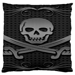 Skull Metal Background Carved Large Flano Cushion Case (one Side)