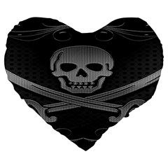 Skull Metal Background Carved Large 19  Premium Flano Heart Shape Cushions