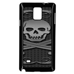 Skull Metal Background Carved Samsung Galaxy Note 4 Case (black)