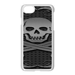 Skull Metal Background Carved Apple Iphone 8 Seamless Case (white)