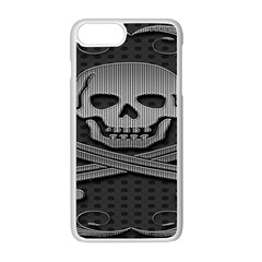 Skull Metal Background Carved Apple Iphone 8 Plus Seamless Case (white)
