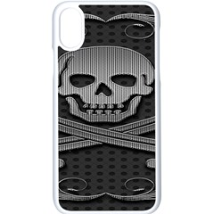 Skull Metal Background Carved Apple Iphone X Seamless Case (white)