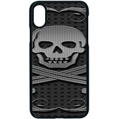 Skull Metal Background Carved Apple Iphone X Seamless Case (black)