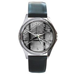 Architecture Stairs Steel Abstract Round Metal Watch