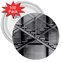 Architecture Stairs Steel Abstract 3  Buttons (100 Pack)