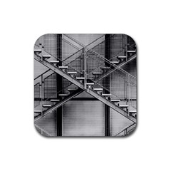 Architecture Stairs Steel Abstract Rubber Square Coaster (4 Pack)