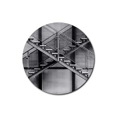 Architecture Stairs Steel Abstract Rubber Coaster (round)