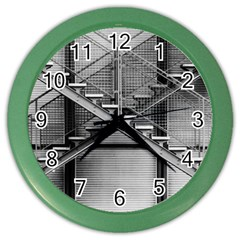 Architecture Stairs Steel Abstract Color Wall Clocks