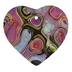 Retro Background Colorful Hippie Heart Ornament (two Sides)