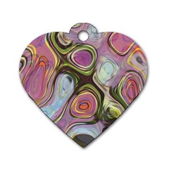 Retro Background Colorful Hippie Dog Tag Heart (one Side)