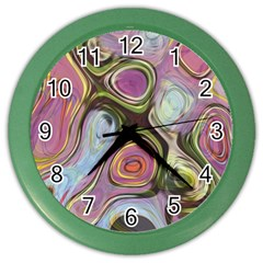 Retro Background Colorful Hippie Color Wall Clocks
