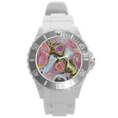 Retro Background Colorful Hippie Round Plastic Sport Watch (l)
