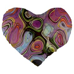 Retro Background Colorful Hippie Large 19  Premium Flano Heart Shape Cushions