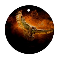 Art Creative Graphic Arts Owl Round Ornament (two Sides)