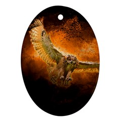 Art Creative Graphic Arts Owl Oval Ornament (two Sides)