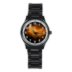 Art Creative Graphic Arts Owl Stainless Steel Round Watch
