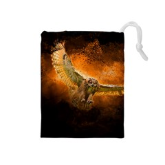 Art Creative Graphic Arts Owl Drawstring Pouches (medium)