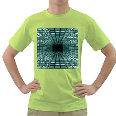 Abstract Perspective Background Green T Shirt