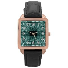 Abstract Perspective Background Rose Gold Leather Watch