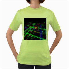 Electronics Board Computer Trace Women s Green T Shirt