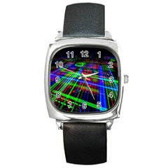 Electronics Board Computer Trace Square Metal Watch