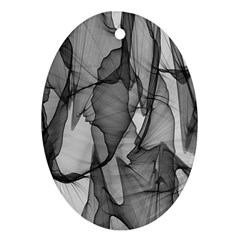 Abstract Black And White Background Oval Ornament (two Sides)
