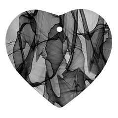 Abstract Black And White Background Heart Ornament (two Sides)