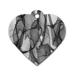Abstract Black And White Background Dog Tag Heart (two Sides)