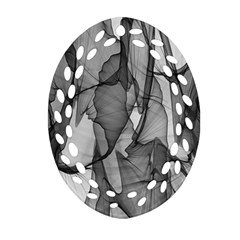 Abstract Black And White Background Oval Filigree Ornament (two Sides)