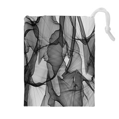 Abstract Black And White Background Drawstring Pouches (extra Large)