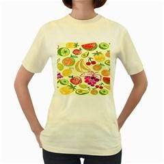 Seamless Pattern Desktop Decoration Women s Yellow T Shirt