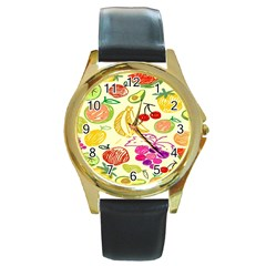 Seamless Pattern Desktop Decoration Round Gold Metal Watch