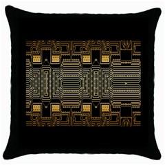 Board Digitization Circuits Throw Pillow Case (black)