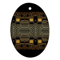Board Digitization Circuits Oval Ornament (two Sides)