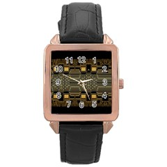 Board Digitization Circuits Rose Gold Leather Watch