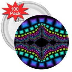 Fractal Art Artwork Digital Art 3  Buttons (100 Pack)