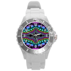 Fractal Art Artwork Digital Art Round Plastic Sport Watch (l)