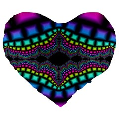 Fractal Art Artwork Digital Art Large 19  Premium Heart Shape Cushions