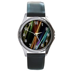 Lines Rays Background Light Round Metal Watch