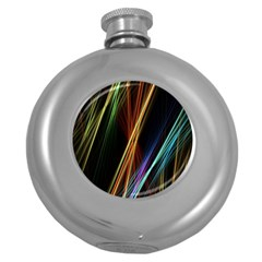 Lines Rays Background Light Round Hip Flask (5 Oz)