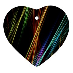 Lines Rays Background Light Heart Ornament (two Sides)