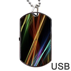 Lines Rays Background Light Dog Tag Usb Flash (two Sides)