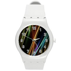 Lines Rays Background Light Round Plastic Sport Watch (m)