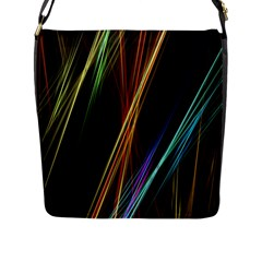 Lines Rays Background Light Flap Messenger Bag (l)