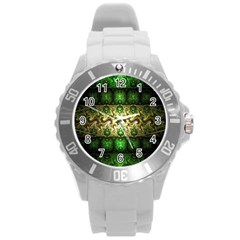 Fractal Art Digital Art Round Plastic Sport Watch (l)