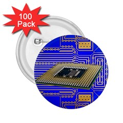 Processor Cpu Board Circuits 2 25  Buttons (100 Pack)