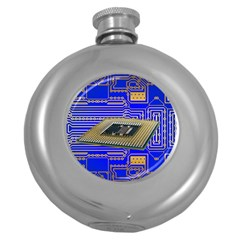 Processor Cpu Board Circuits Round Hip Flask (5 Oz)