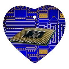 Processor Cpu Board Circuits Heart Ornament (two Sides)