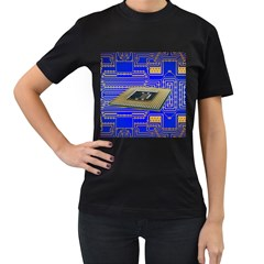 Processor Cpu Board Circuits Women s T Shirt (black)