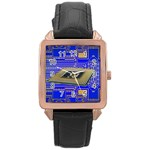 Processor Cpu Board Circuits Rose Gold Leather Watch  Front